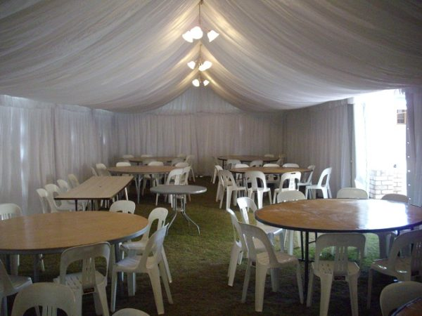 Marquee silk liner, 6m x 12m
